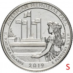 ETATS-UNIS / USA - PIECE de 25 Cents - America the Beautiful - American Memorial Park - 2019
