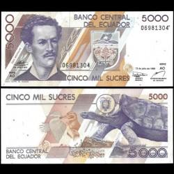 EQUATEUR - Billet de 5000 Sucres - Tortue des Galapagos - 12.07.1999