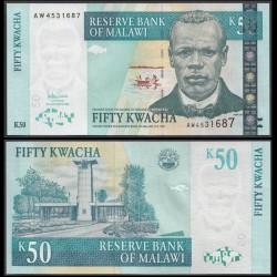 MALAWI - Billet de 50 Kwacha - Révérend John Chilembwe - 31.10.2005 P53a