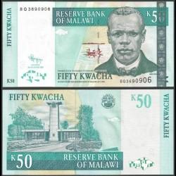 MALAWI - Billet de 50 Kwacha - Révérend John Chilembwe - 31.10.2009 P53d