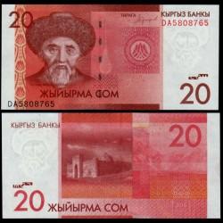 KIRGHIZISTAN - Billet de 20 Som - Togolok Moldo - 2016