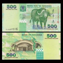 TANZANIE - Billet de 500 Shillings - Buffle du Cap - 2003
