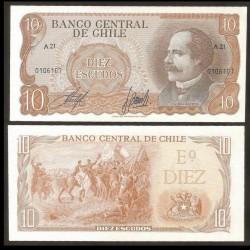CHILI - BILLET de 10 Escudos - José Manuel Balmaceda - 1970 / 1973 P143(1)