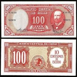 CHILI - BILLET de 100 Pesos - Arturo Prat - 1964 / 1967 P127a(3)