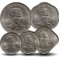 BIRMANIE / MYANMAR - SET / LOT de 5 PIECES - 1 5 10 25 50 - Portrait de Aung San - 1966
