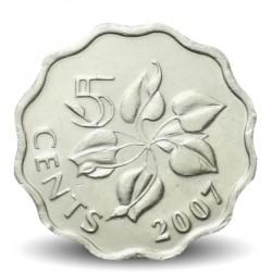 SWAZILAND - PIECE de 5 Cents - Mswati III - Zantedeschia - 2007 Km#48