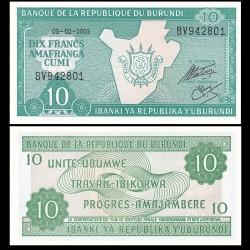 BURUNDI - Billet de 10 Francs - 01.08.2005