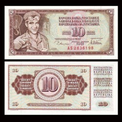 YOUGOSLAVIE - Billet de 10 Dinara - Arif Heralić - 12.08.1978