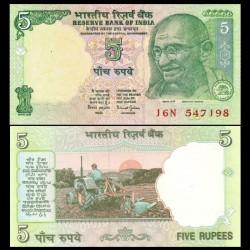 INDE - Billet de 5 Roupies - Mahatma Gandhi - 2002 P88Ab - L