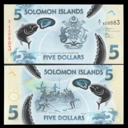 SALOMON (ILES) - Billet de 5 DOLLARS - POLYMER - Pêche au thon - 2019 P38a