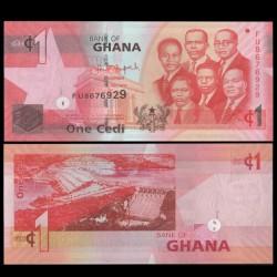 GHANA - Billet de 1 Cedi - Barrage d'Akosombo - 2014