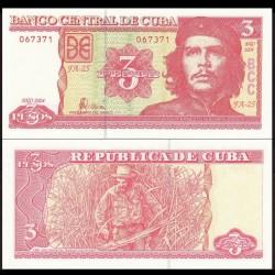 """CUBA - Billet de 3 Pesos - """"Che"""" Guevara - 2004 P127a"""