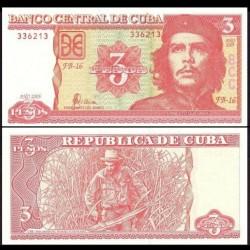 """CUBA - Billet de 3 Pesos - """"Che"""" Guevara - 2005 P127b"""