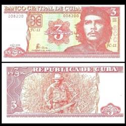 """CUBA - Billet de 3 Pesos - """"Che"""" Guevara - 2006 P127c"""