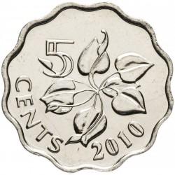 SWAZILAND - PIECE de 5 Cents - Mswati III - Zantedeschia aethiopica - 2010 Km#48