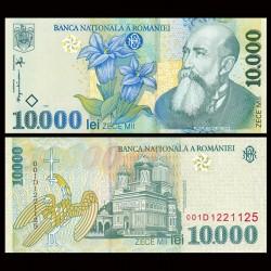ROUMANIE - Billet de 10000 Lei - Nicolae Iorga / gentiane - 1999 P108a