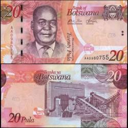 BOTSWANA - Billet de 20 Pula - Kgalemang Tumedisco Motsete - 2009
