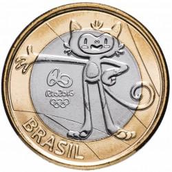 BRESIL - PIECE de 1 Real - Jeux olympiques de Rio 2016 - Mascotte olympique - 2016