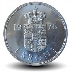 DANEMARK - PIECE de 1 Kroner - Margrethe II - 1976 - S ♥ B Km#862.1