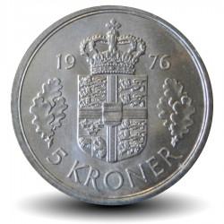 DANEMARK - PIECE de 5 Kroner - Margrethe II - 1976 - S ♥ B Km#863.1