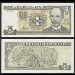CUBA - Billet de 1 Peso - José Martí - 2003