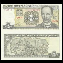 CUBA - Billet de 1 Peso - José Martí - 2016