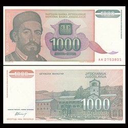 YOUGOSLAVIE - Billet de 1000 Dinara - Petar II Petrović-Njegoš - 1994