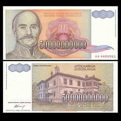 YOUGOSLAVIE - Billet de 50000000000 Dinara - Prince Milan Obrenović - 1993