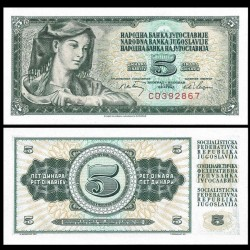 YOUGOSLAVIE - Billet de 5 Dinara - 1 V 1968