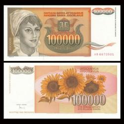 YOUGOSLAVIE - Billet de 100000 Dinara - Tournesols - 1993