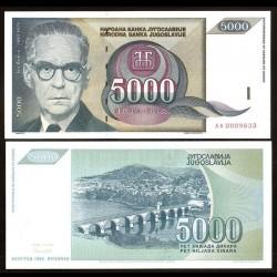 YOUGOSLAVIE - Billet de 5000 Dinara - Ivo Andrić - 1992 P115a