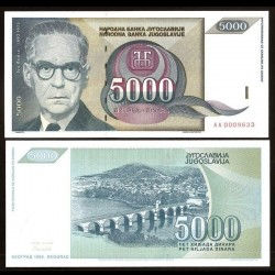 YOUGOSLAVIE - Billet de 5000 Dinara - Ivo Andrić - 1992
