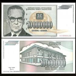 YOUGOSLAVIE - Billet de 10000000 Dinara - Ivo Andrić - 1993 P122a