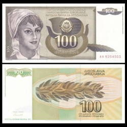 YOUGOSLAVIE - Billet de 100 Dinara - Paysanne - 1991