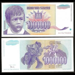 YOUGOSLAVIE - Billet de 1000000 Dinara - Enfant - 1993