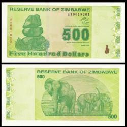 ZIMBABWE - Billet de 500 DOLLARS - 2009