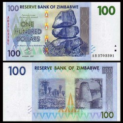 ZIMBABWE - Billet de 100 DOLLARS - 2007