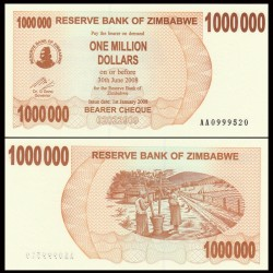 ZIMBABWE - Billet de 1000000 DOLLARS - Bearer cheque - 2008