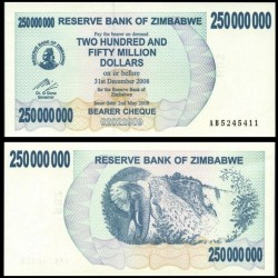 ZIMBABWE - Billet de 250000000 DOLLARS - Bearer cheque - 02.05.2008