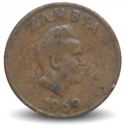 ZAMBIE - PIECE de 1 Kwacha - Oryctérope du Cap - 1969