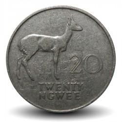 ZAMBIE - PIECE de 20 Ngwee - Antilope Cobe des roseaux - 1968 Km#13