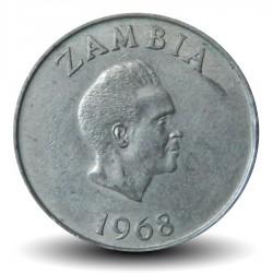 ZAMBIE - PIECE de 10 Ngwee - Calao couronné - 1968