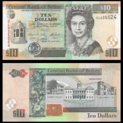 BELIZE - Billet de 10 Dollars - Palais du gouvernement et palais de justice - 2016