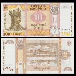 MOLDAVIE - Billet de 100 Lei - Citadelle de Tighina - 2015 P25a