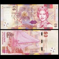BAHAMAS - Billet de 3 Dollars - Bateau à voile - 2019