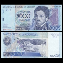 VENEZUELA - Billet de 5000 Bolivares -Francisco de Miranda - 2004