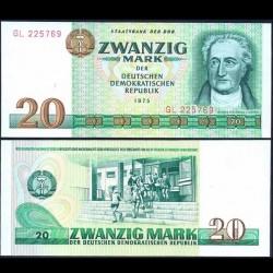 ALLEMAGNE DE L'EST / DDR / RDA - Billet de 20 Mark - Johann Wolfgang v. Goethe - 1975