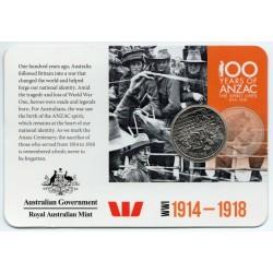 AUSTRALIE - PIECE de 20 CENTS - 100ieme anniversaire de l'ANZAC - 2015