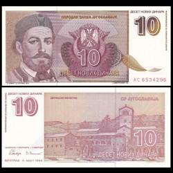 YOUGOSLAVIE - Billet de 10 Novih Dinara - Petar II Petrovic Njegos - 1994