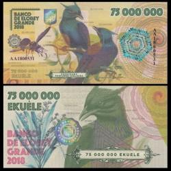 ELOBEY GRANDE - Billet de 75000000 Ekuele - Oiseau Paradisier de Keraudren - 2018